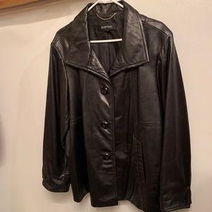 Ellen Tracy black leather jacket plus 2X button up